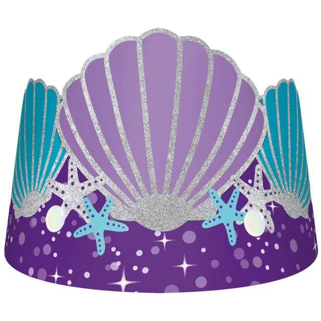 "Korona party ""Syrenka - Mermaid Wishes"", papierowa, AMSCAN, 8 szt"