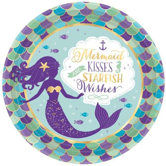 """Talerzyki papierowe """"Mermaid Wishes"""", AMSCAN, 23 cm, 8 szt"""