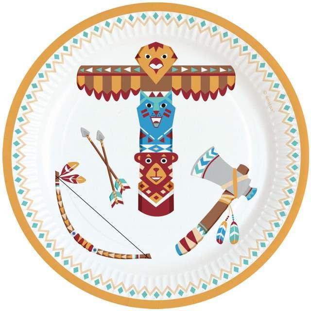 """Talerzyki papierowe """"Tepee & Tomahawak - Indianie"""", AMSCAN, 18 cm, 8 szt"""