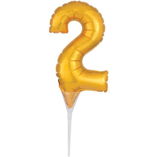 """Balon foliowy """"Cyfra 2 - Micro"""", 6"""", AMSCAN, złoty"""