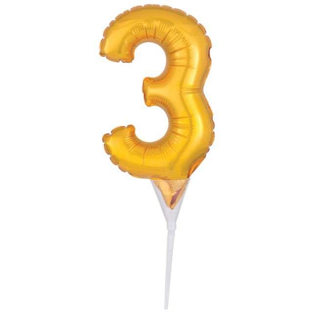 """Balon foliowy """"Cyfra 3 - Micro"""", 6"""", AMSCAN, złoty"""