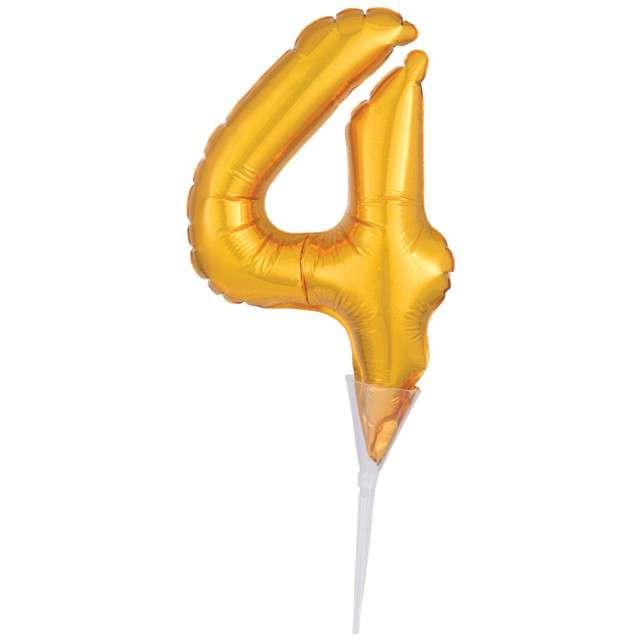 """Balon foliowy """"Cyfra 4 - Micro"""", 6"""", AMSCAN, złoty"""