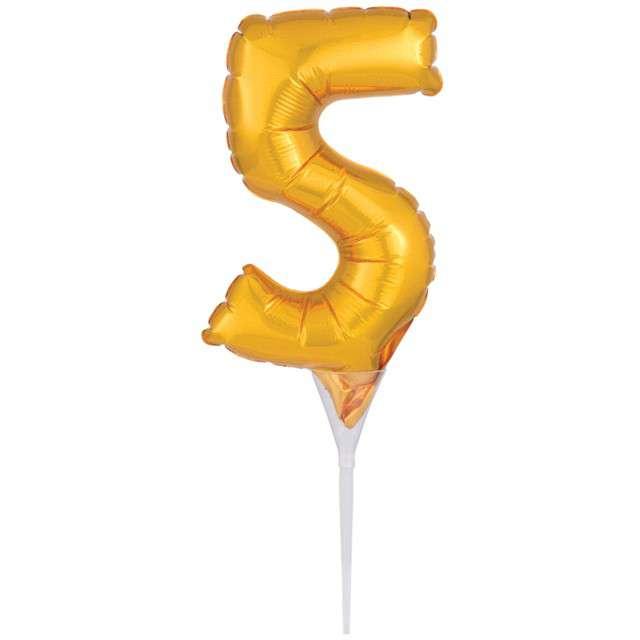 """Balon foliowy """"Cyfra 5 - Micro"""", 6"""", AMSCAN, złoty"""