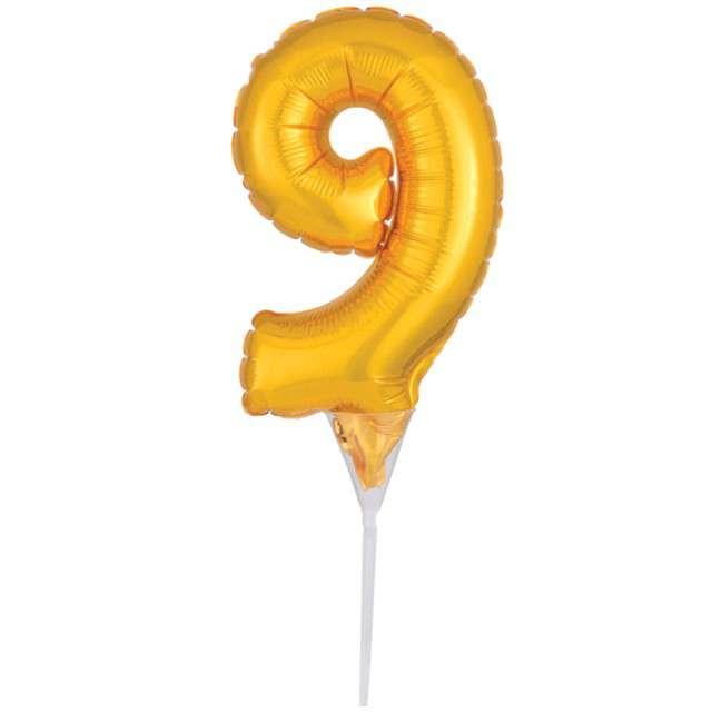 """Balon foliowy """"Cyfra 9 - Micro"""", 6"""", AMSCAN, złoty"""