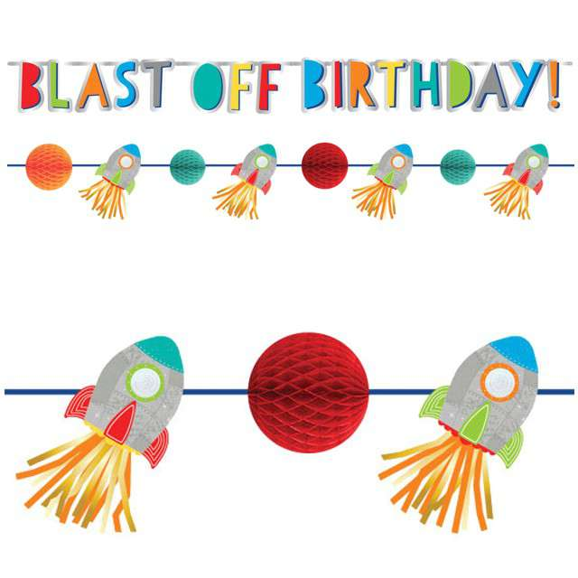 "Baner ""Blast off  Birthday"", AMSCAN, zestaw"