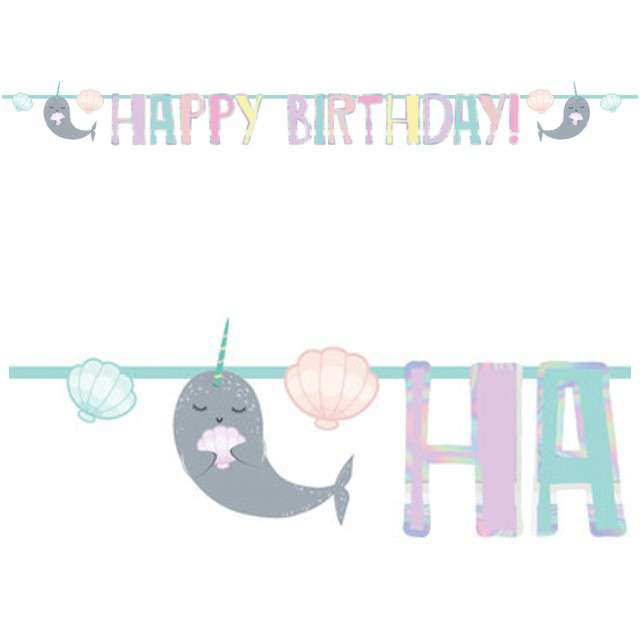 "Girlanda ""Happy Birthday - Narwhal"", AMSCAN, 200 cm"