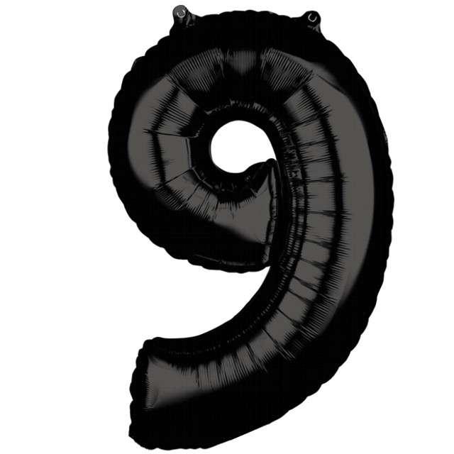"""Balon foliowy cyfra 9, 26"""", AMSCAN, czarny"""