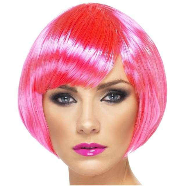 "Peruka party ""Bob Babe"", różowa neon, SMIFFYS"