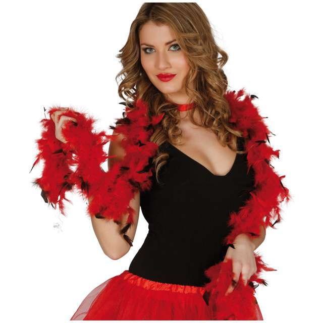 "Boa ""Classic"", czerwono-czarne, GUIRCA, 40 g, 180 cm"