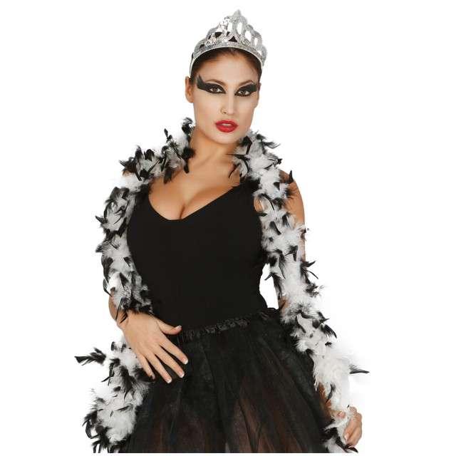 "Boa ""Classic"", biało-czarne, GUIRCA, 40 g, 180 cm"