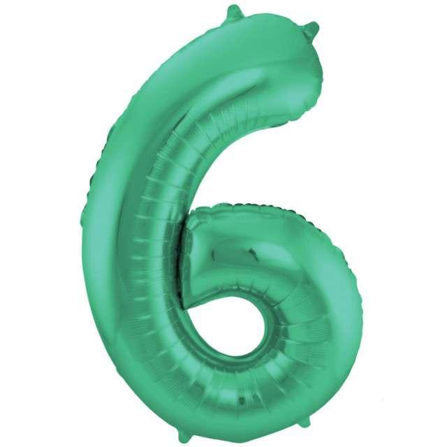 """Balon foliowy cyfra 6, 34"""", FOLAT, zielony mat"""