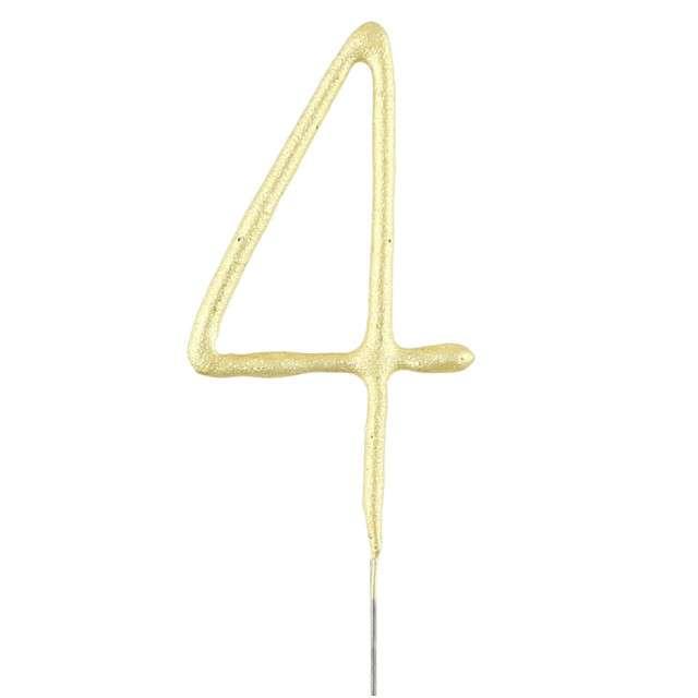 """Zimne ognie """"Cyfra 4"""", złota, WonderCandle, 18 cm"""