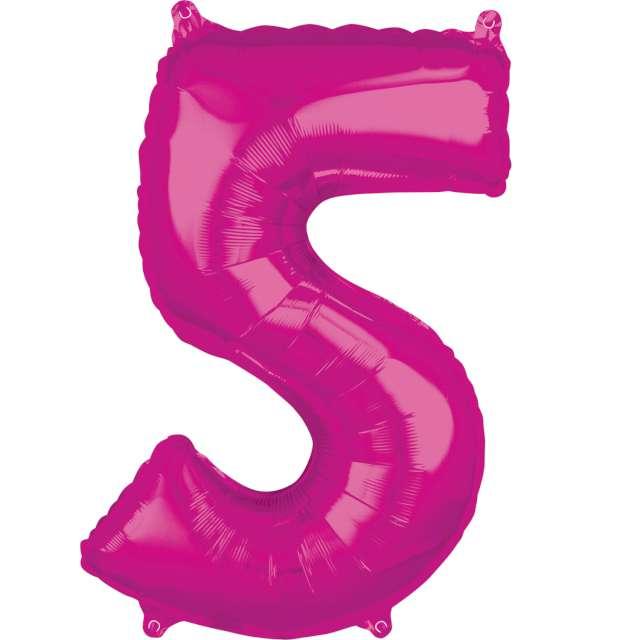 """Balon foliowy cyfra 5, 26"""", AMSCAN, różowy"""
