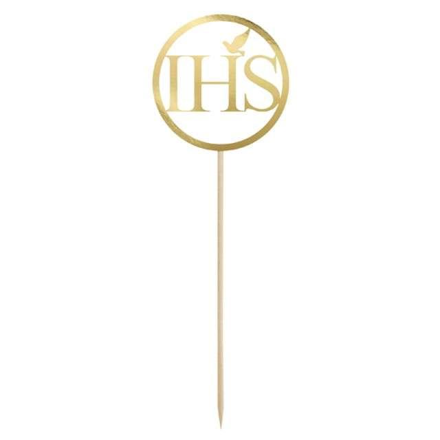 """Dekoracja na tort """"IHS"""", złoty, PartyDeco, 22 cm"""