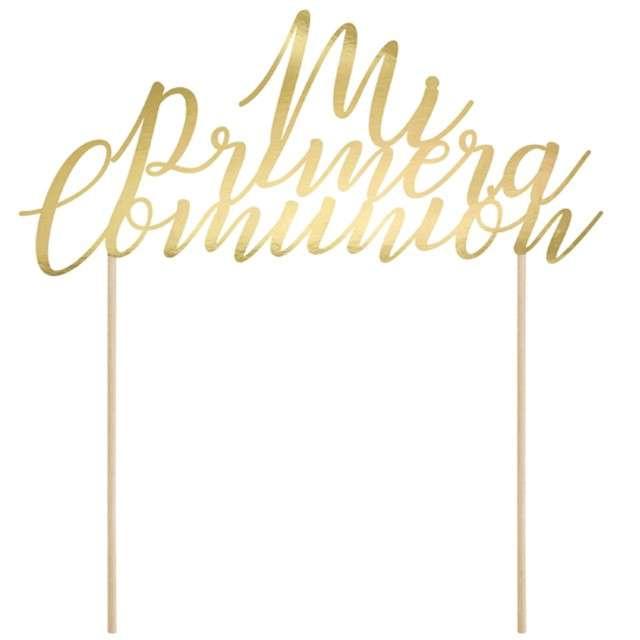 """Dekoracja na tort """"Mi Primera Comunion"""", złoty, PartyDeco, 24 cm"""