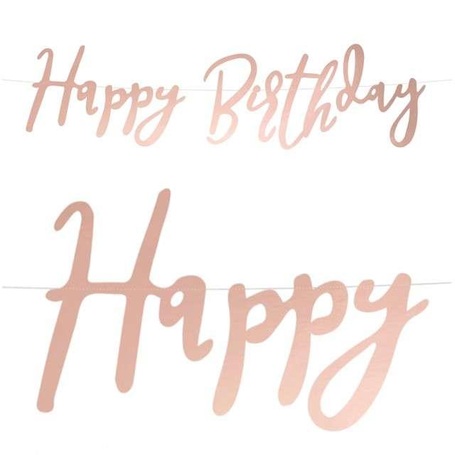 """Baner """"Happy Birthday"""", różowe złoto, PartyDeco, 62 cm"""