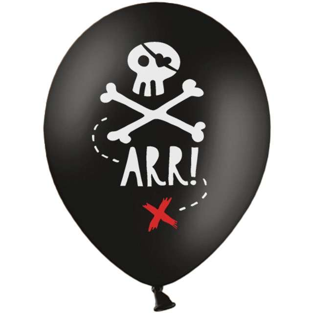 "Balony ""Piraci"", pastel czarne, STRONG, 12"", 6 szt"