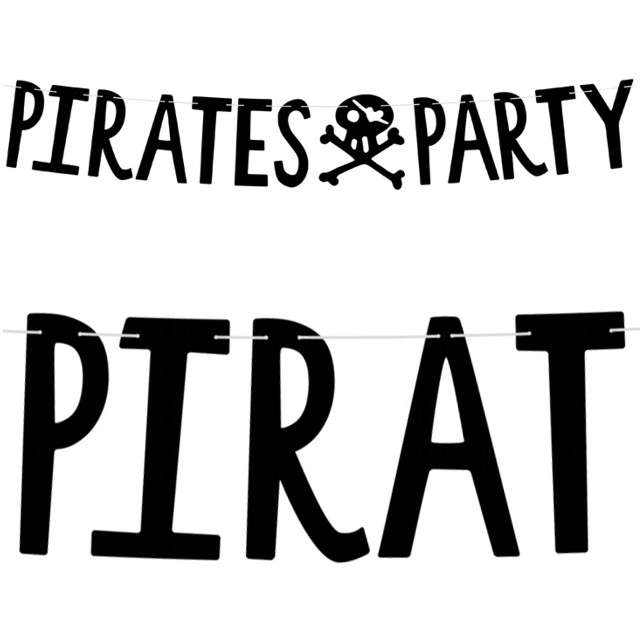 "Baner ""Pirates Party - Piraci"", czarny, PartyDeco, 100 cm"