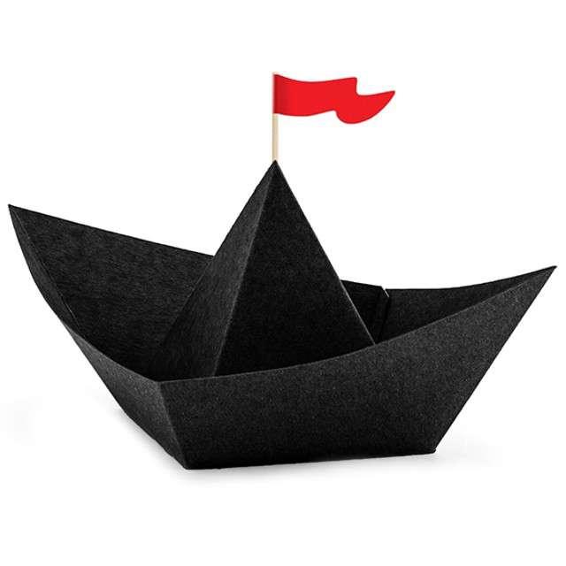 """Dekoracja """"Łódki - Piraci"""", czarny, PartyDeco, 6 szt"""