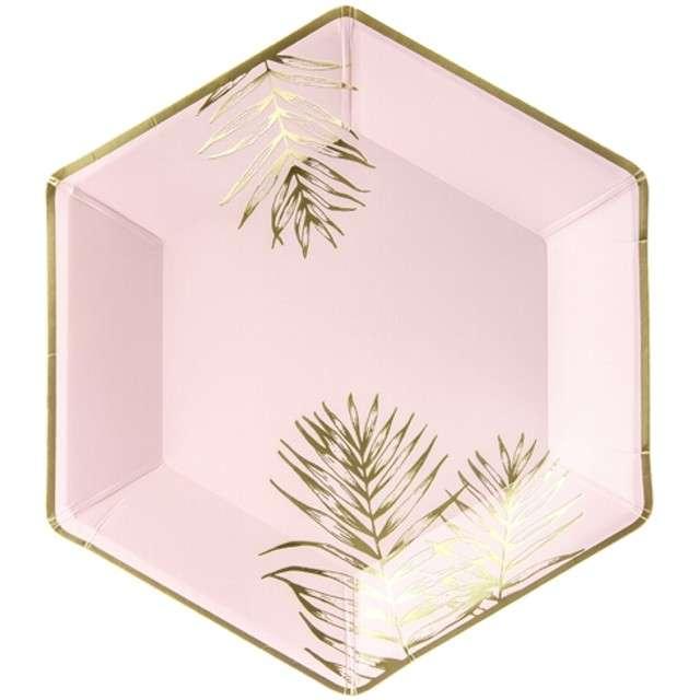 """Talerzyki papierowe """"Liście"""", różowe jasne, PartyDeco, 23 cm, 6 szt"""