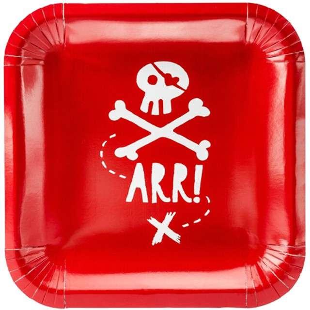 """Talerzyki papierowe """"Piraci"""", czerwony, PartyDeco, 20 cm, 6 szt"""