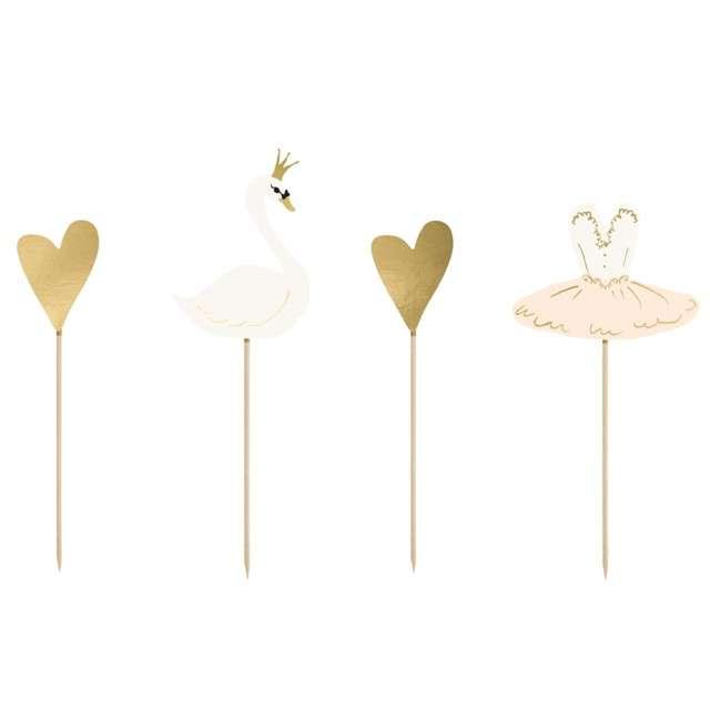 "Dekoracja na tort ""Lovely Swan"", PartyDeco, 28,5 cm, 4 szt"