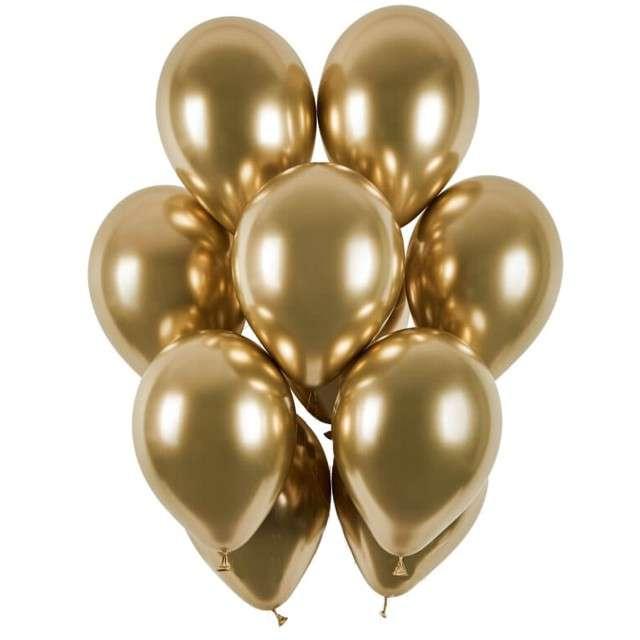 """Balony """"Shiny"""", złoty chrom, Gemar, 13"""", 50 szt"""