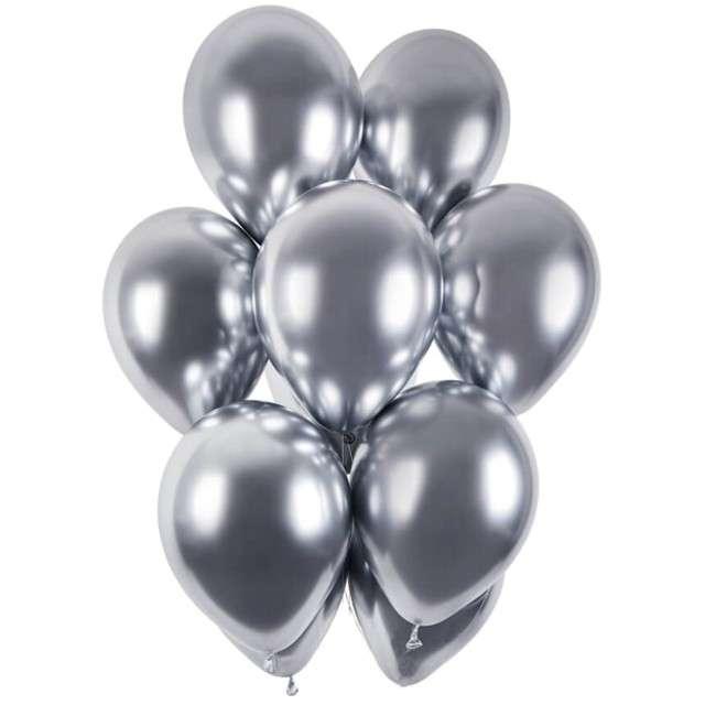 """Balony """"Shiny"""", srebrny chrom, Gemar, 13"""", 50 szt"""