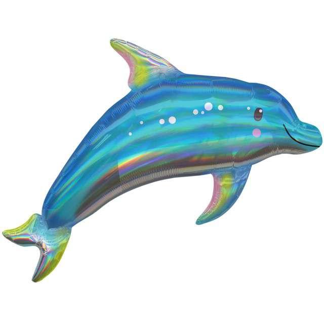 """Balon foliowy """"Delfin Opalizujący"""", błękitny holograficzny, 29"""" SHP"""