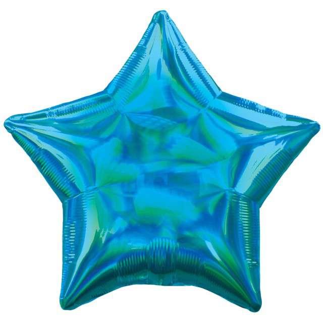 """Balon foliowy """"Gwiazda Holograficzna"""", niebieski, AMSCAN, 17"""" STR"""