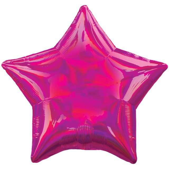 """Balon foliowy """"Gwiazda Holograficzna"""", różowy, AMSCAN, 17"""" STR"""