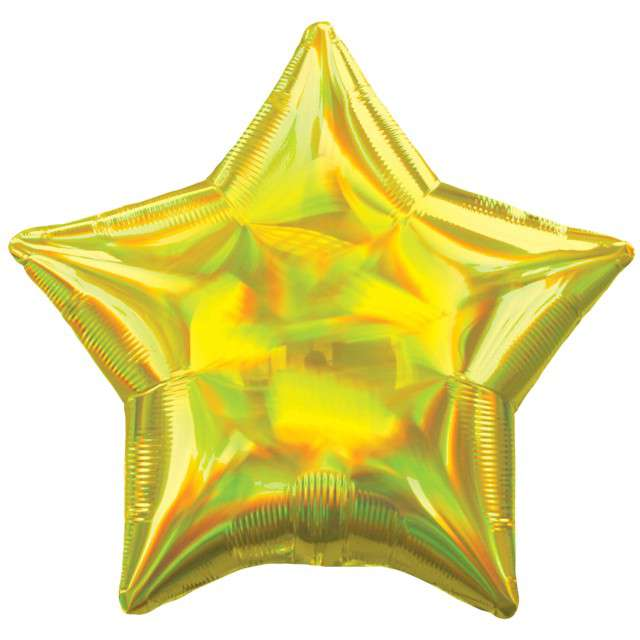 """Balon foliowy """"Gwiazda Holograficzna"""", żółty, AMSCAN, 17"""" STR"""