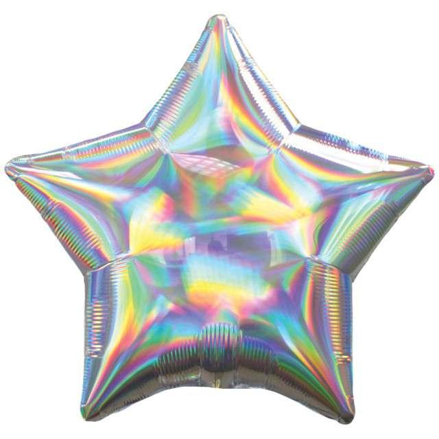 "Balon foliowy ""Gwiazda Holograficzna"", srebrny, AMSCAN, 17"" STR"