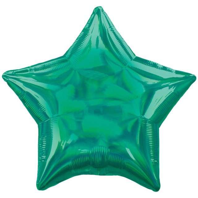 """Balon foliowy """"Gwiazda Holograficzna"""", zielony, AMSCAN, 17"""" STR"""
