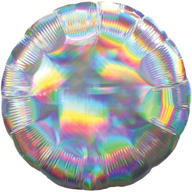 "Balon foliowy ""Holographic Circle"", srebrny, AMSCAN, 17"" CIR"