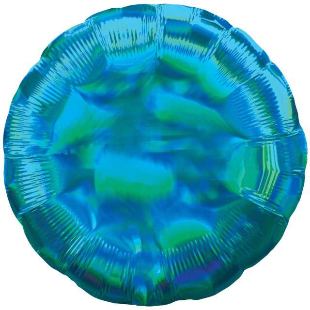 "Balon foliowy ""Holographic Circle"", niebieski, AMSCAN, 17"" CIR"