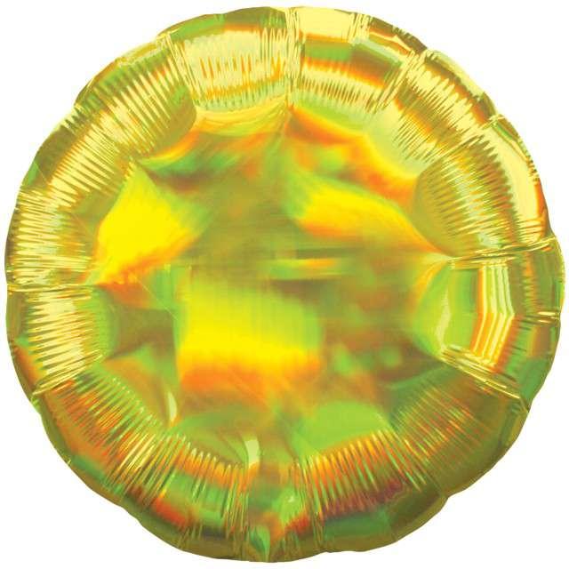 "Balon foliowy ""Holographic Circle"", żółty, AMSCAN, 17"" CIR"