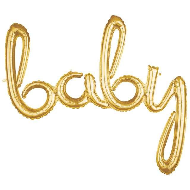 """Balon foliowy """"baby"""", złoty, AMSCAN, 39"""" SHP"""