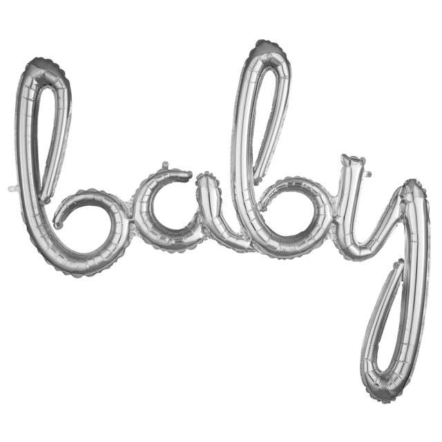 "Balon foliowy ""baby"", srebrny, AMSCAN, 39"" SHP"