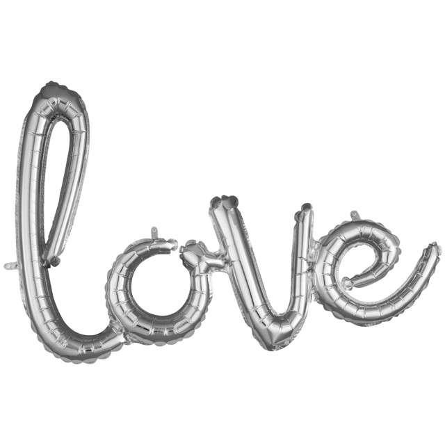 "Balon foliowy ""love"", srebrny, AMSCAN, 31"" SHP"