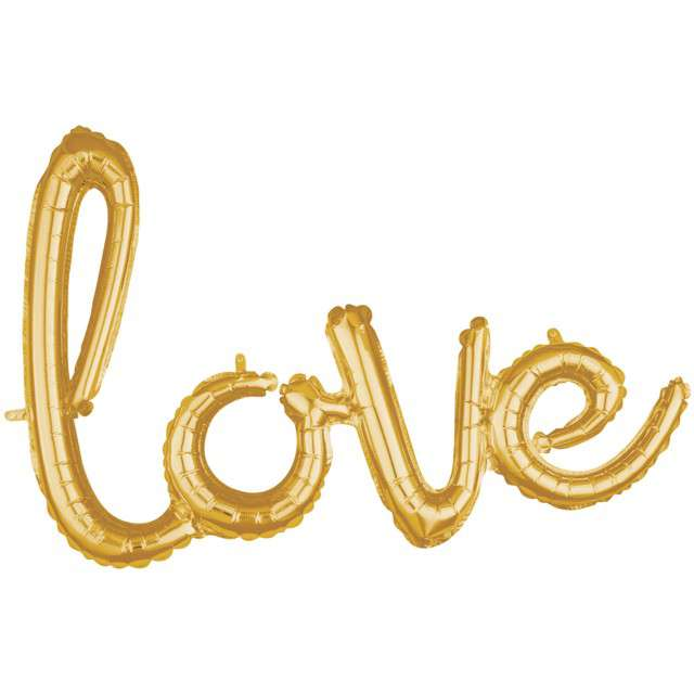 """Balon foliowy """"love"""", złoty, AMSCAN, 31"""" SHP"""