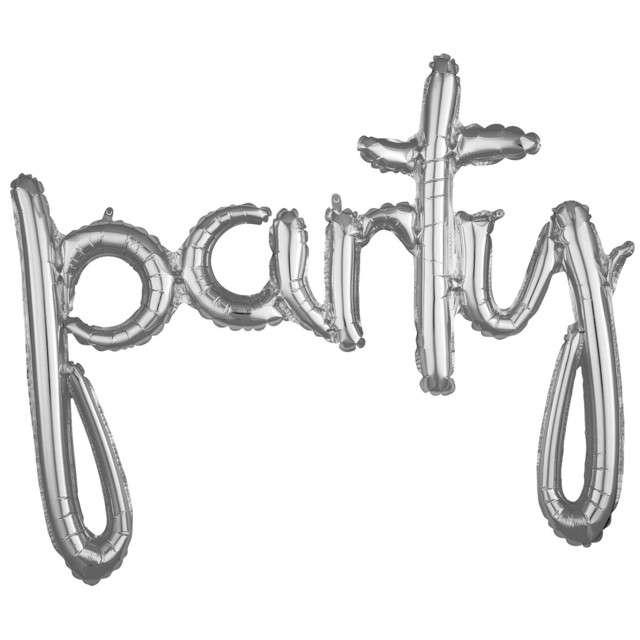 "Balon foliowy ""party"", srebrny, AMSCAN, 39"" SHP"