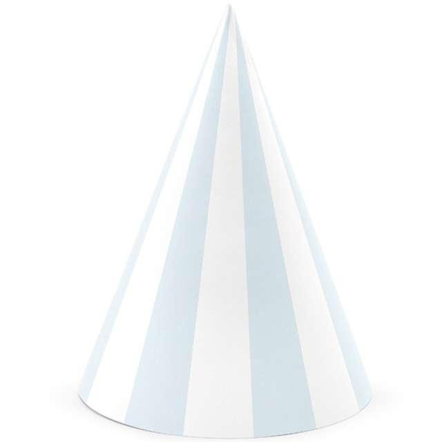"""Czapeczki papierowe """"Paski"""", niebieski jasny, PartyDeco, 16 cm, 6 szt"""