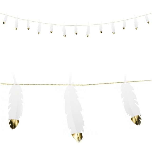 "Girlanda ""Piórka"", biała, PartyDeco, 160 cm"