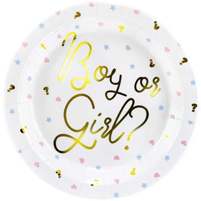 """Talerzyki papierowe """"Boy or Girl"""", białe, PartyDeco, 23 cm, 6 szt"""