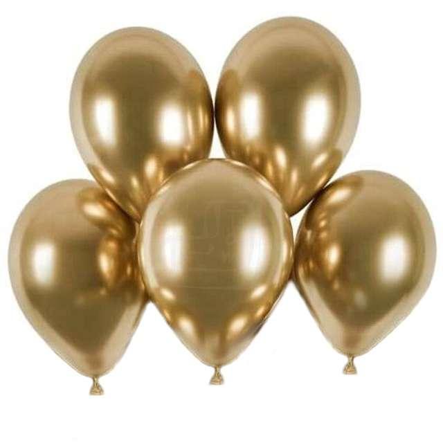 """Balony """"Shiny"""", złoty chrom, Gemar, 13"""",  5 szt"""
