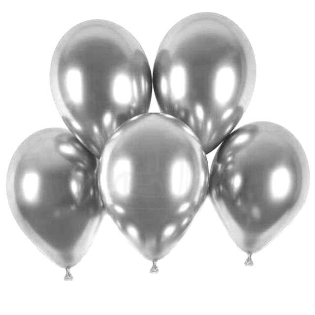 """Balony """"Shiny"""", srebrny chrom, Gemar, 13"""",  5 szt"""