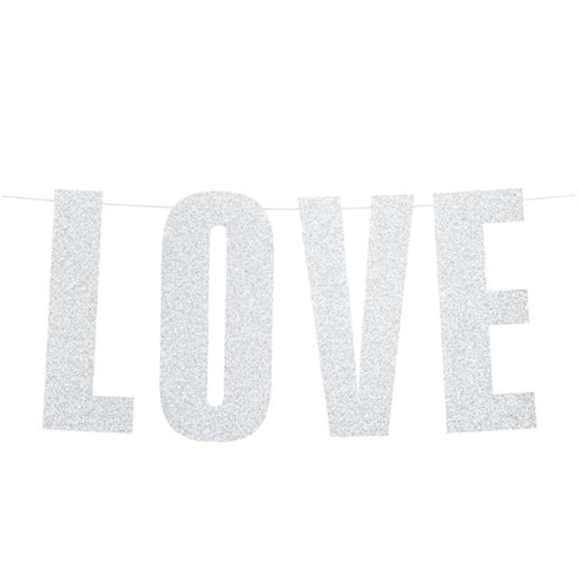 "Baner ""Baner Love"", srebny, PartyDeco, 55 cm"