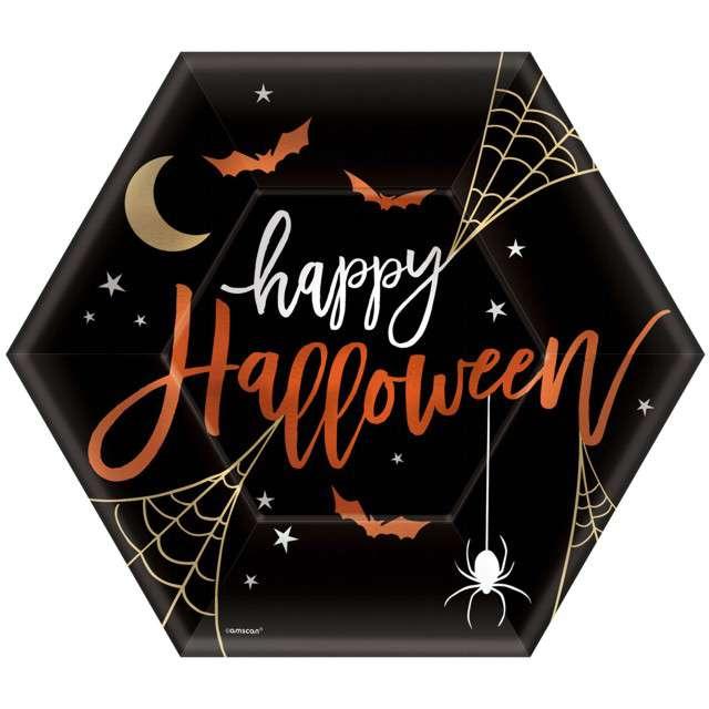 """Talerzyki papierowe """"Halloween"""", AMSCAN, 23 cm, 8 szt"""