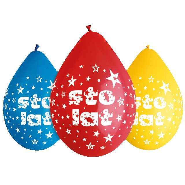 """Balony """"Sto Lat"""", mix, GEMAR, 12"""", 5 szt"""
